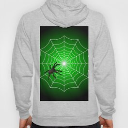 White Spider Web With Spider on Acid Green and Black Hoody