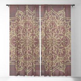 Deep Red & Gold Mandala Sheer Curtain