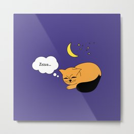 Beatrice. The cat that thinks... Sleep Metal Print