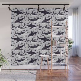 Sharks On Pale Grey Wall Mural