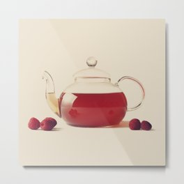 Raspberry Tea (Retro and Vintage Still Life Photography) Metal Print