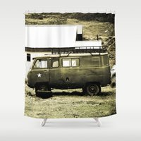 truck Shower Curtains featuring Old truck. by Alejandra Triana Muñoz (Alejandra Sweet