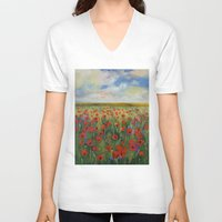 poppies V-neck T-shirts featuring Poppies by Michael Creese