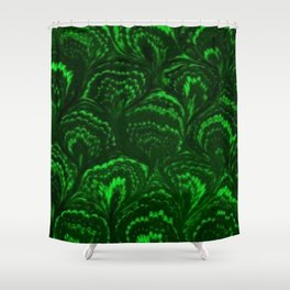 Retro Swirls Emerald Green Shower Curtain