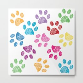 Colorful doodle paw pattern background Metal Print