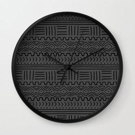 Mud Cloth on Linen Wall Clock
