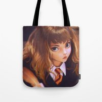 hermione Tote Bags featuring Hermione by Mightymike