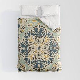 Protea Pattern in Deep Teal, Cream, Sage Green & Yellow Ochre  Comforters