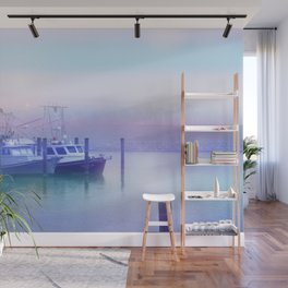 Moored Boats In the Early Morning Fog Wall Mural