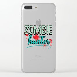 Zombie Hunter Maggot Infested Blood Splatter Apocalypse design Clear iPhone Case