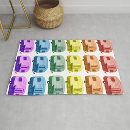 Rainbow Vintage Trailers Watercolor Pattern Rug