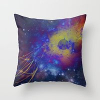 pocket fuel Throw Pillows featuring Fuel Trails by AbstractAnomaly
