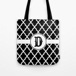 Black Monogram: Letter D Tote Bag