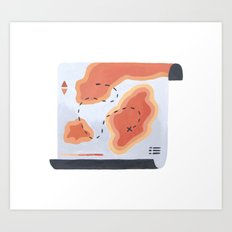 Coral Topography Map Art Print