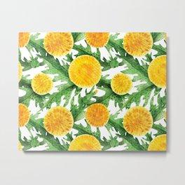 Watercolor Dandelion Pattern in Green and Yellow Metal Print