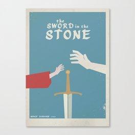 The sword in the stone, minimalist movie poster, animated film, King Arthur, Merlin, retro playbill Canvas Print