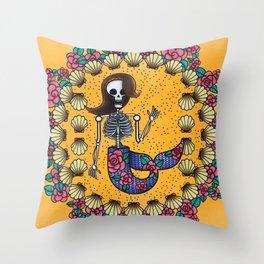 Skeleton Mermaid Throw Pillow