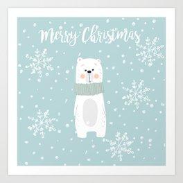 Cute Polar Bear Mint Art Print