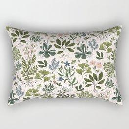 Herbarium ~ vintage inspired botanical art print ~ white Rectangular Pillow