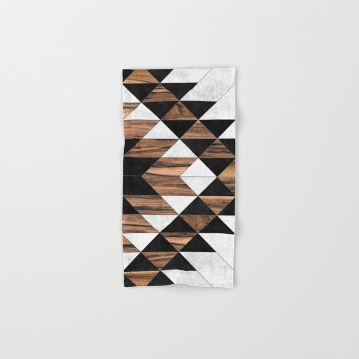 Urban Tribal Pattern No.9 - Aztec - Concrete and Wood Hand & Bath Towel