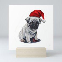 Cute Santa Claus puppy pug, Merry Christmas, Xmas theme, adorable pet by Luna Smith Mini Art Print