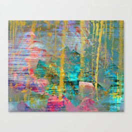 Abstract Gold Streaks on Pink and Turquoise Canvas Print
