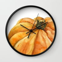 pumpkin Wall Clocks featuring Pumpkin by Cindy Lou Bailey