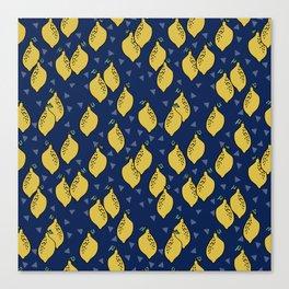 Lemons minimal triangles fruit citrus lemon pattern by andrea lauren Canvas Print