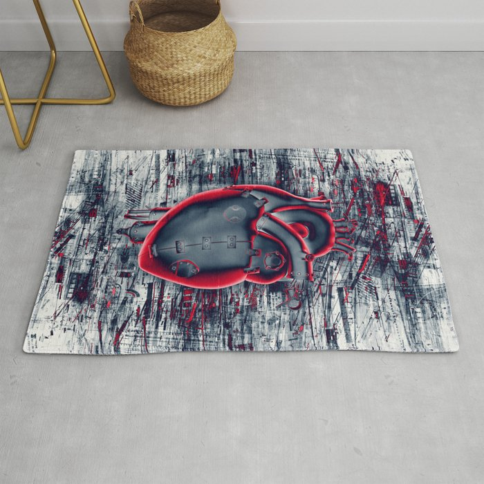 Gamer Heart BLUE CRIMSON / 3D render of mechanical heart Rug