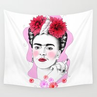 frida kahlo Wall Tapestries featuring Frida Kahlo by sarah illustration