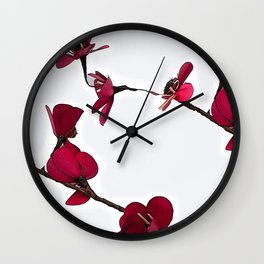 Dainty Red Double Stem Wall Clock