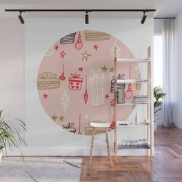 Christmas gift and ornaments Pink Wall Mural