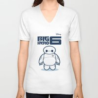 baymax V-neck T-shirts featuring BAYMAX by bimorecreative
