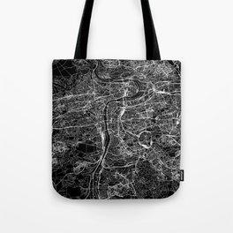 Prague Black Map Tote Bag