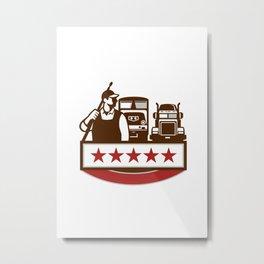 Power Washer Worker Truck Train Stars Retro Metal Print