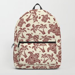 Red Aestheti Hawaiian Turtle Pattern Backpack
