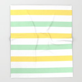Yellow and Mint Stripes Throw Blanket
