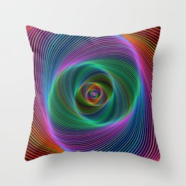 Psychedelic Spiral Stripes Throw Pillow
