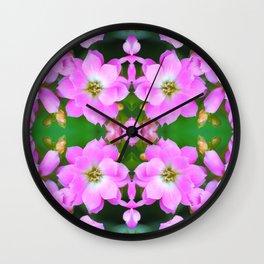 Fresh pink Kalanchoe flowers surreal shaped symmetrical kaleidoscope Wall Clock
