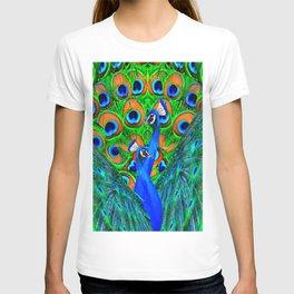 BLUE PEACOCKS PATTERN DESIGN T-shirt