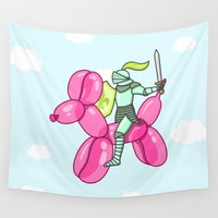 knight Wall Tapestries featuring Air Knight by Sombras Blancas Art & Design