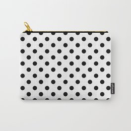 Polka Dot White And Black Carry-All Pouch