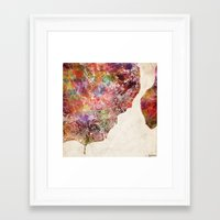 philippines Framed Art Prints featuring Davao map Philippines by MapMapMaps.Watercolors