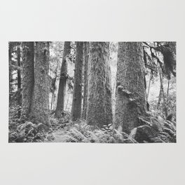 Forest Trail in Black and White Rug