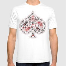 83 Drops - Spades (Red & Black) White Mens Fitted Tee MEDIUM