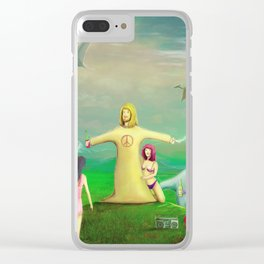 Jesus Rave Dinosaur Party Clear iPhone Case