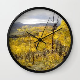 Bursting aspen with building storms Wall Clock