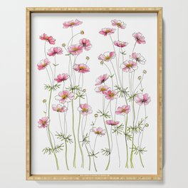 Pink Cosmos Flowers Serving Tray