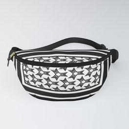 Black and white abstract pattern on a sophisticated black background  Fanny Pack