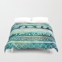 batik Duvet Covers featuring Dreamy Tribal Part VIII by Pom Graphic Design